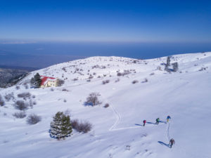 A beautiful day skiing above the Aegean Sea