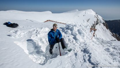 Frozen Ambrosia Film in Greece - Mike Styllas at the Christos Kakkalos refuge on Mount Olympos, Greece