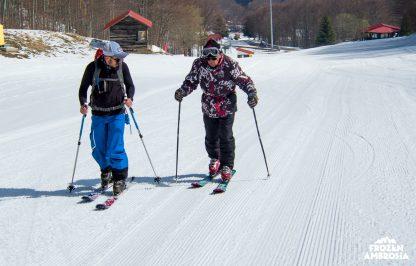 Dimitris Managas Learning ski touring in 3-5 Pigadia ski area in Greece