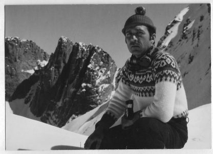 Dimitris Managas on the summit of Mount Olympos in Greece, circa 1960.