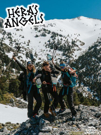 Andriana Beldekou, Maria Eleftheriadou and Eirini Kafaraki at Dirfys Mountain Greece for Hera's Angels.