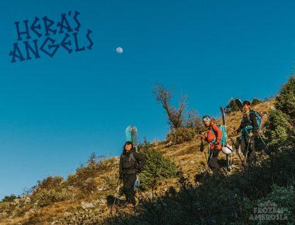 Andriana Beldekou, Maria Eleftheriadou and Eirini Kafaraki hiking on Dirfys Mountain Greece for Hera's Angels.