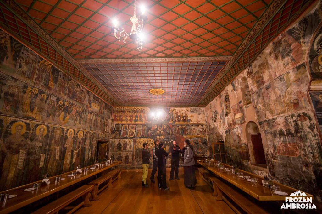 Visiting with the monks of Dionysiou Monastery