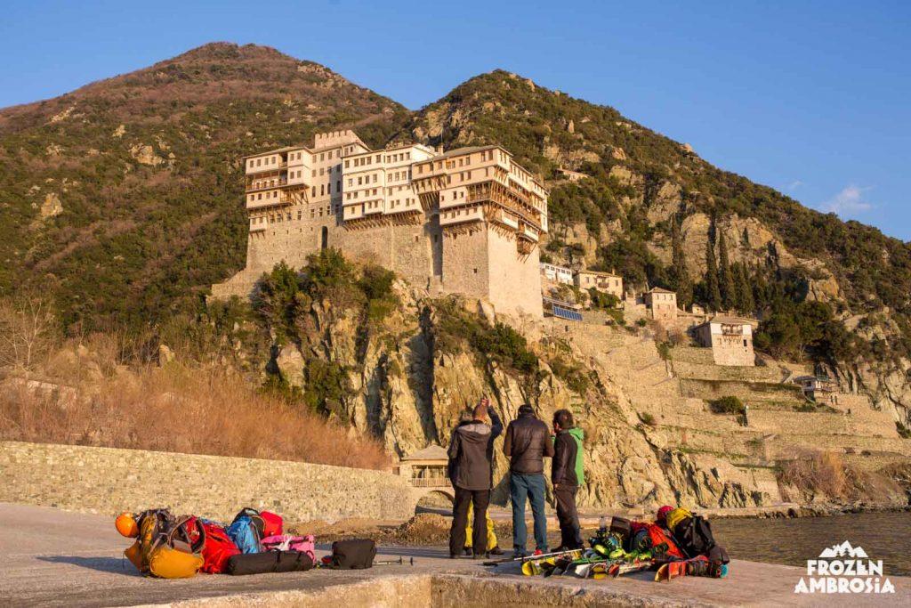 Arriving at Dionysiou Monastery on Mount Athos