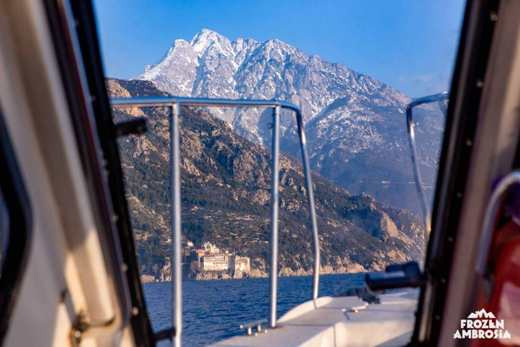 Approaching Mount Athos, the Holy Mountain, by sea taxi.