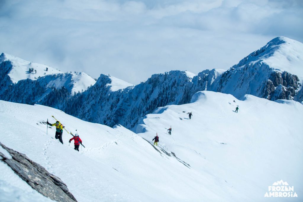 Approaching the summit of Mount Athos for the first ever ski descent.