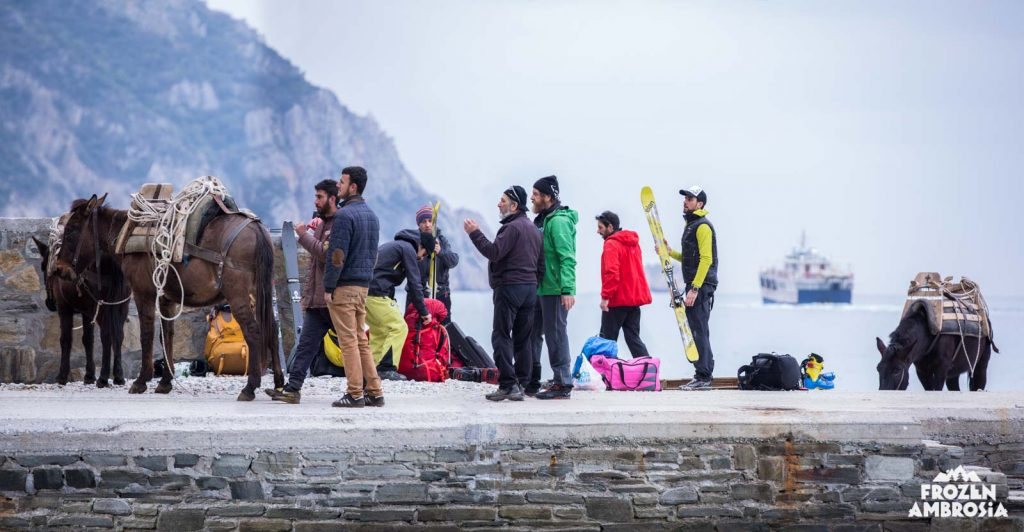 Getting ready to begin the hike to the summit of Mount Athos