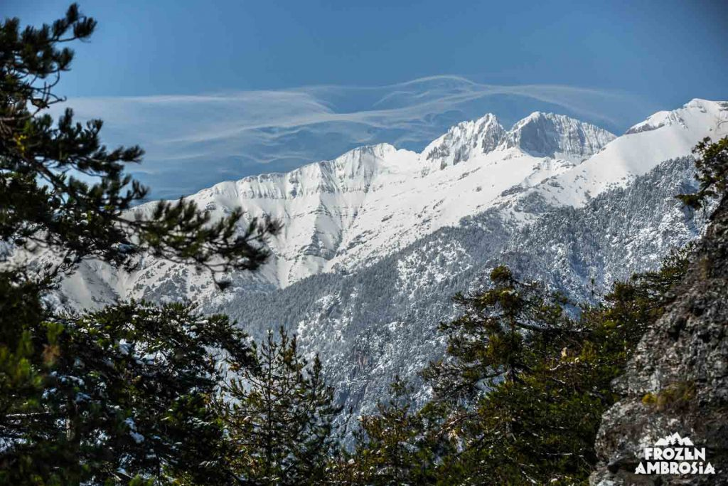 Ski touring on Mount Olympos.